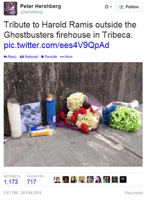 Ghostbusters Fans are Paying Respects for Harold Ramis at NYC's Hook and Ladder 8 Firehouse