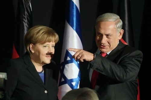 Israeli PM Netanyahu Accidentally Gives Angela Merkel a Shadow Makeover