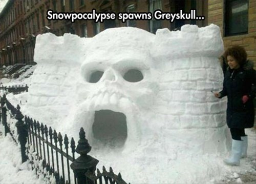 cartoons,he man,snow,sculpture,throwback,castle greyskull