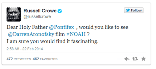 Russel Crowe Gets Really Clingy, Begs the Pope to See His New Movie