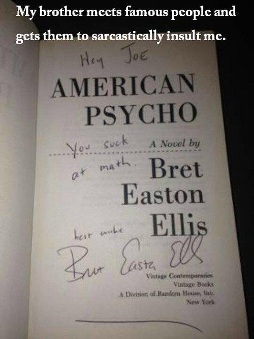books,bret easton ellis,famous people,autographs,brothers