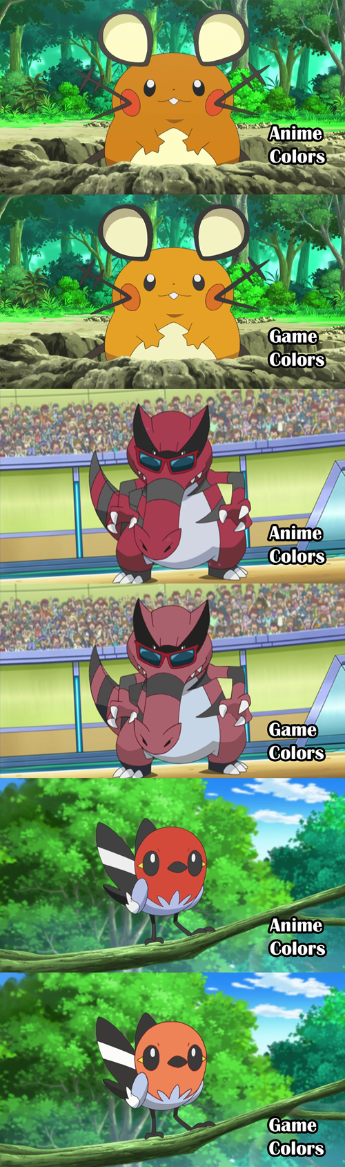 Pokémon Colors in the Anime Vs. the Games