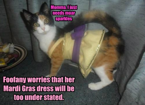 Foofany worries that her Mardi Gras dress will be too under stated.