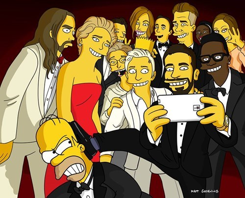 The Simpsons Show Behind the Scenes of Ellen's Amazing Oscars Selfie