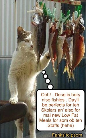 Chef Punkin at Captain Ahab's Fishie Market selects teh best fishies for today's meal at Kuppykakes Preppy Skool..