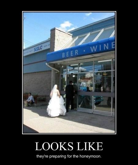 honeymoon,wedding,funny,liquor store