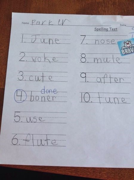 How Did You Do On Your Spelling Test, Parker?