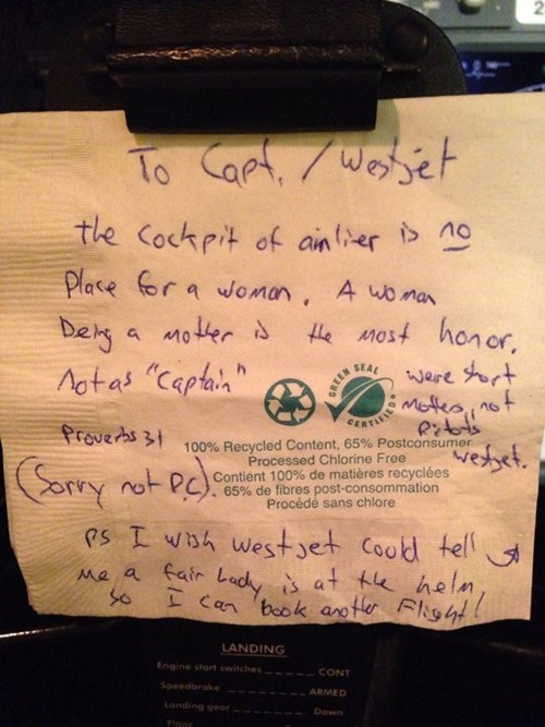 Jerk of the Day: Passenger Leaves Rude Note For Female Pilot, but Her Response is PERFECT