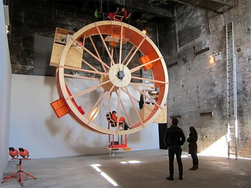 Two Artists Are Living and Working Inside and Outside This Giant Wheel