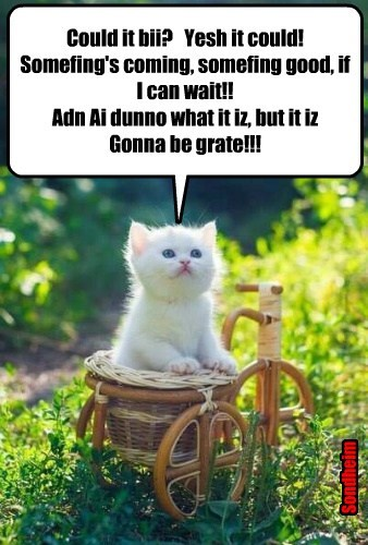 Could it bii?   Yesh it could! Somefing's coming, somefing good, if I can wait!! Adn Ai dunno what it iz, but it iz Gonna be grate!!!