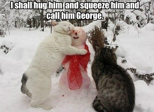 I shall hug him  and squeeze him and call him George.