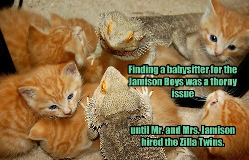 Finding a babysitter for the Jamison Boys was a thorny issue    until Mr. and Mrs. Jamison hired the Zilla Twins.