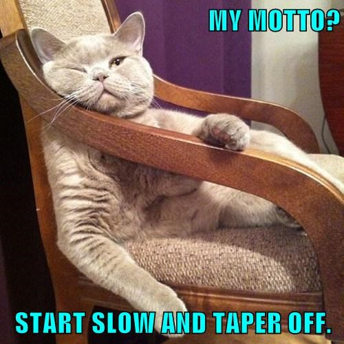 MY MOTTO?  START SLOW AND TAPER OFF.