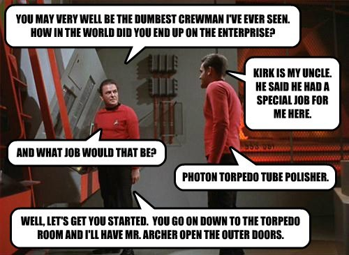 YOU MAY VERY WELL BE THE DUMBEST CREWMAN I'VE EVER SEEN.  HOW IN THE WORLD DID YOU END UP ON THE ENTERPRISE?