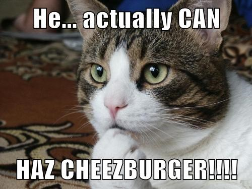 He actually CAN HAZ CHEEZBURGER!!!