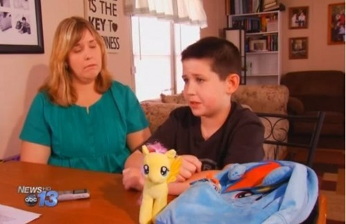School bans 9 year old Grayson from bringing MLP bag to school.