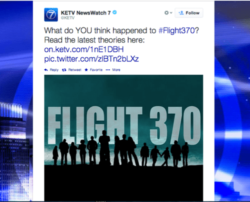 "News Station Tweets an Insensitive Promo Comparing Malaysia Airlines Flight 370 to the TV Series ""Lost"""
