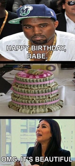 birthday,kim kardashian,kanye west,money