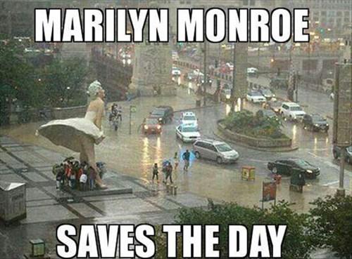 funny,marilyn monroe,umbrella,statue