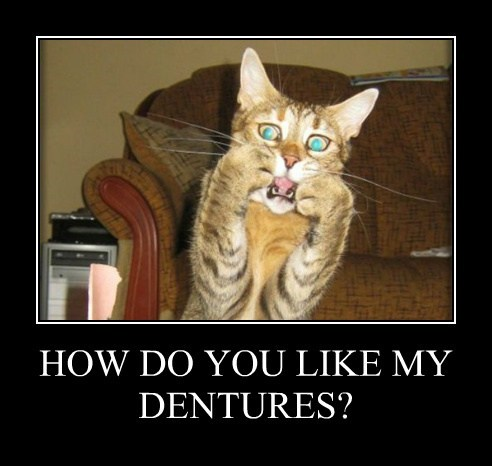 HOW DO YOU LIKE MY DENTURES?