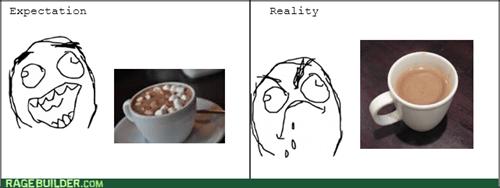 hot chocolate,marshmallows,cocoa,expectation vs reality