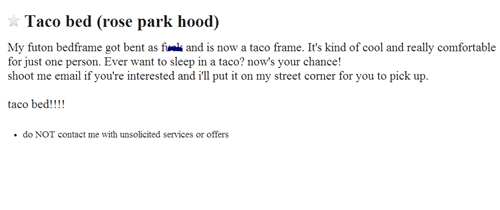 free taco to good home