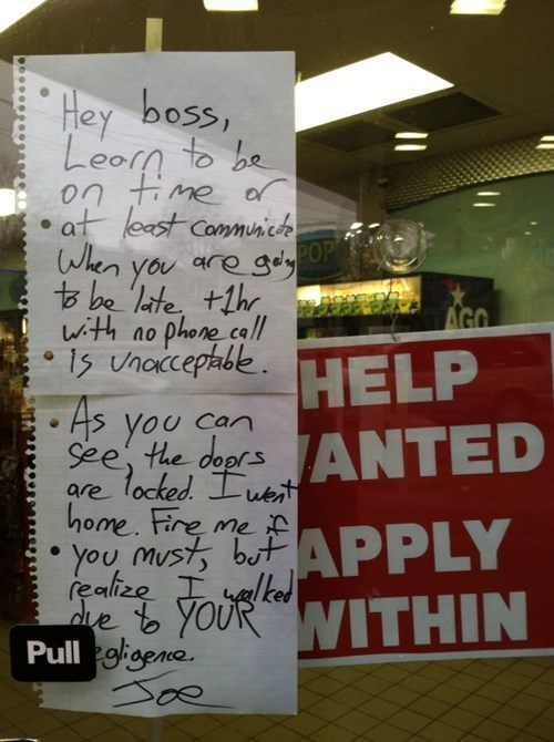 Watch an Interview With the Guy Who Was (Unsurprisingly) Fired After Leaving This Note
