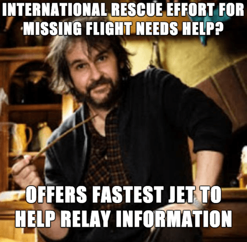 Good Guy Peter Jackson Lends His Jet to Look for Missing Malaysia Airlines Plane