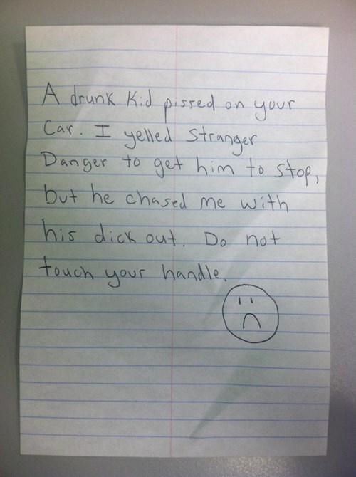 warning,drunk,note