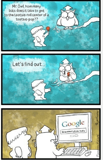 google,owls,tootsie pop,web comics
