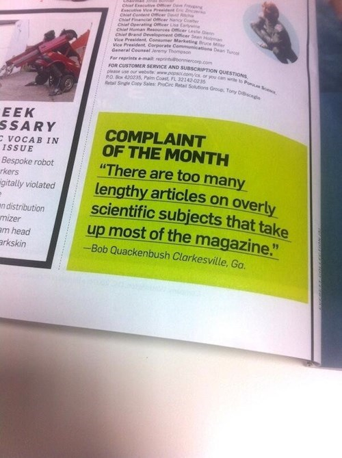 An Incredible Complaint in POPULAR SCIENCE