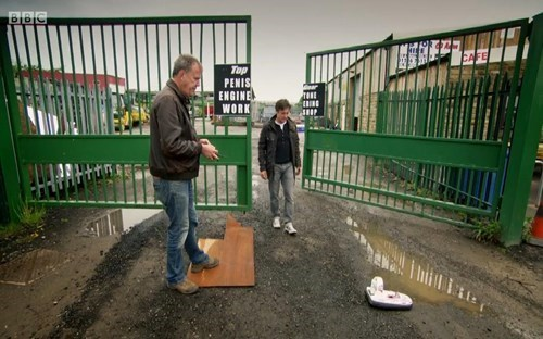 Top Gear's Unintentional Work Sign