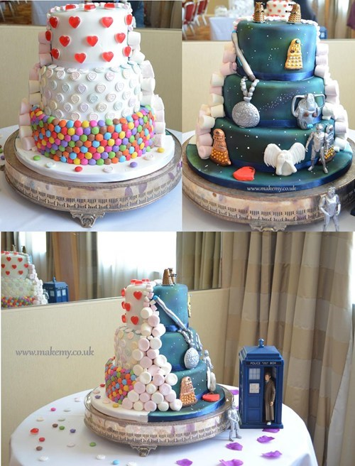 Half and Half Dr Who Candy Wedding Cake