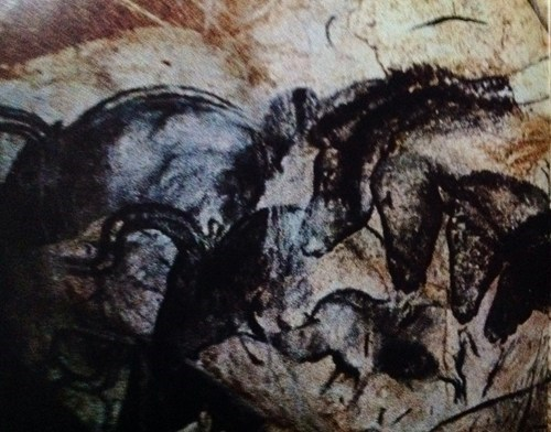 Chauvet Cave, France. Pictures by some really old dudes. Up to 35,000 yrs or so.