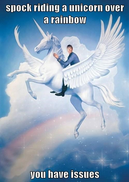 spock riding a unicorn over a rainbow   you have issues
