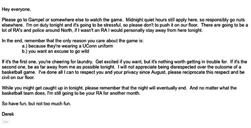 This is What a University of Connecticut RA Sent Out to His Residents Before Their Big Championship Game