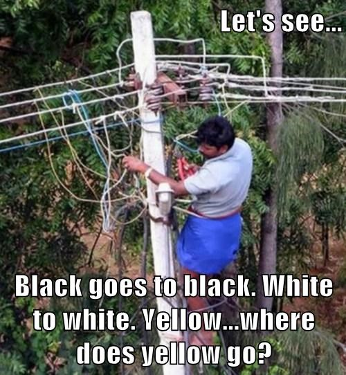 Let's see...  Black goes to black. White to white. Yellow...where does yellow go?