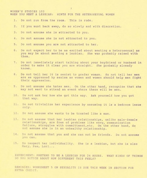 Courtesy of 1988, Here Are Tips for Straight Women Interacting With Gay Women
