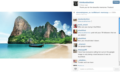Kim Kardashian Thanked Thailand for All the Memories By Posting a Google Search Result for... Thailand