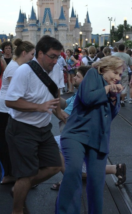 r/photoshopbattles Had Fun With the Picture of Hillary Clinton Dodging a Shoe Thrown at Her