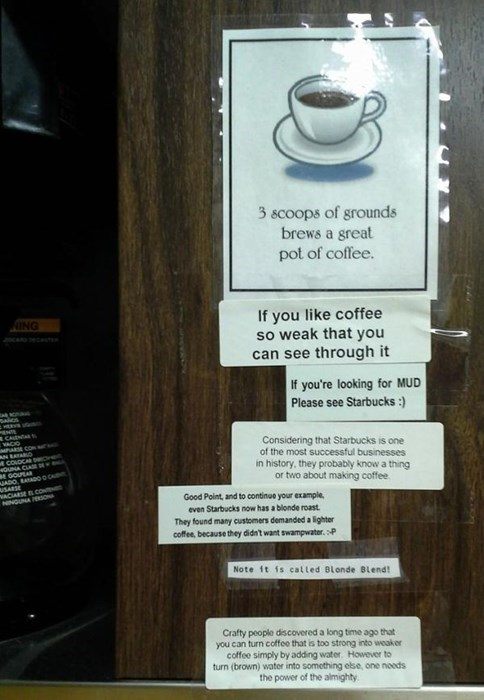 coffee,coffee maker,monday thru friday,work,note,g rated