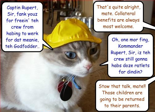 After the big fight on the evil Godfather's ship, a crew member asks Commander Rupert a pressing question..