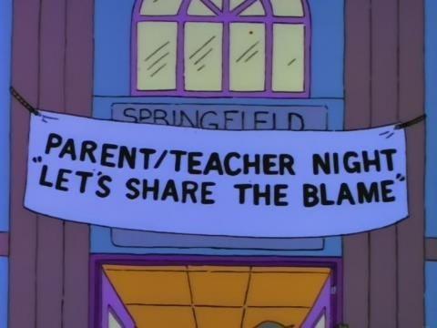 parent-teacher night,school,kids,teacher,parenting,the simpsons