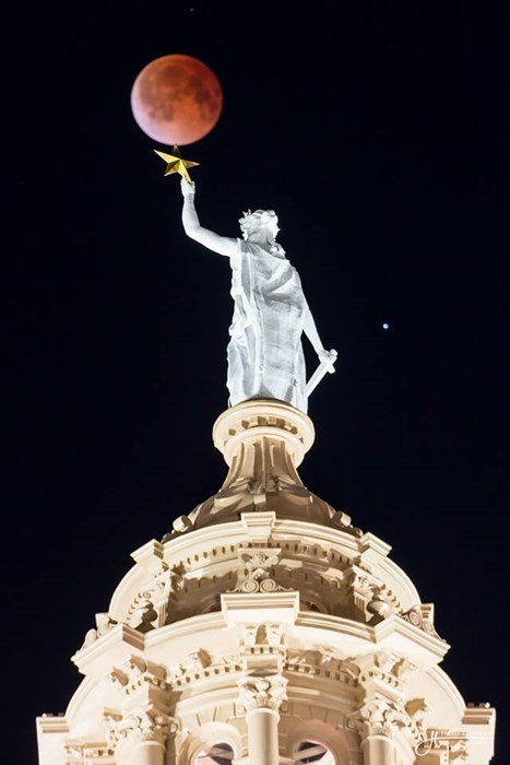 Austin's Own Statue of Liberty is Now the Herald of the Blood Moon