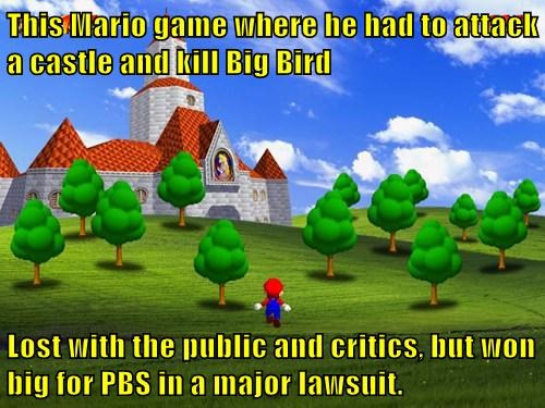 This Mario game where he had to attack a castle and kill Big Bird  Lost with the public and critics, but won big for PBS in a major lawsuit.