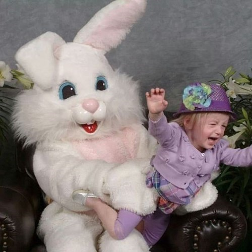 You Got it All Wrong, This Little Girl is Just Heroically Flying Away from the Easter Bunny
