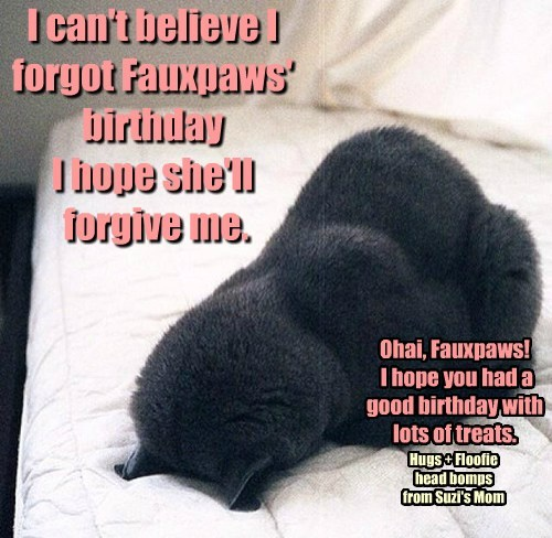 I can't believe I forgot Fauxpaws' birthday  I hope she'll  forgive me.