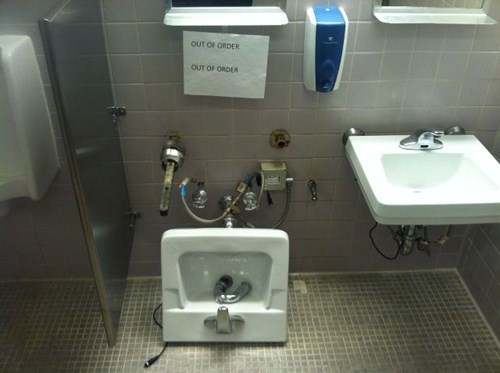 bathroom,broken,monday thru friday,out of order,sign,work,sink,you dont say