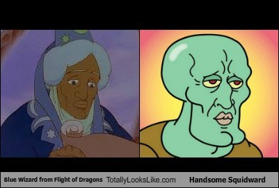 Blue Wizard from Flight of Dragons Totally Looks Like Handsome Squidward