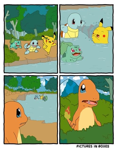 bulbasaur,charmander,squirtle,starters,pikachu,swimming